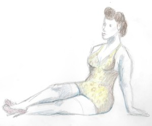 Pin up in a one piece - coloured pencils on paper